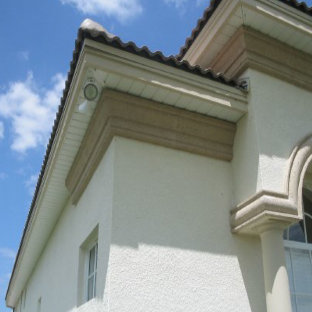Architectural foam moldings in soffit / vane area