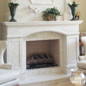 Fireplaces in precast stone or natural stone
